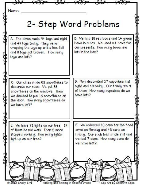 Christmas Freebie Print And Go Math Words Word Problems Two Step