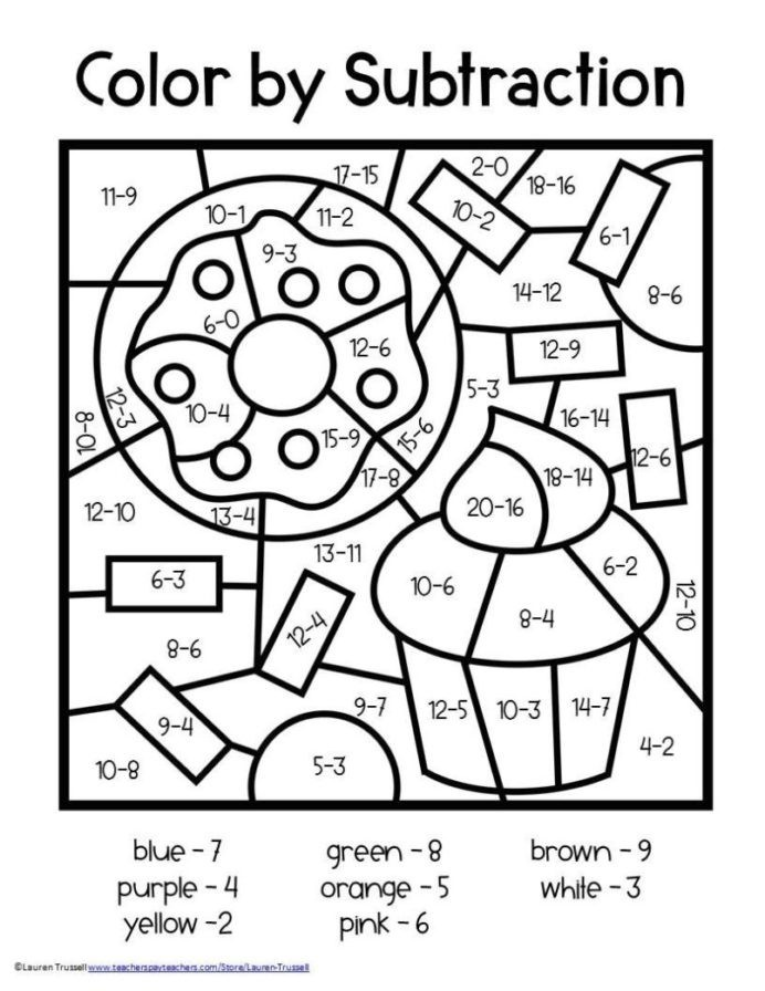 Color By Number Worksheets Subtraction Nd Free Grade Math
