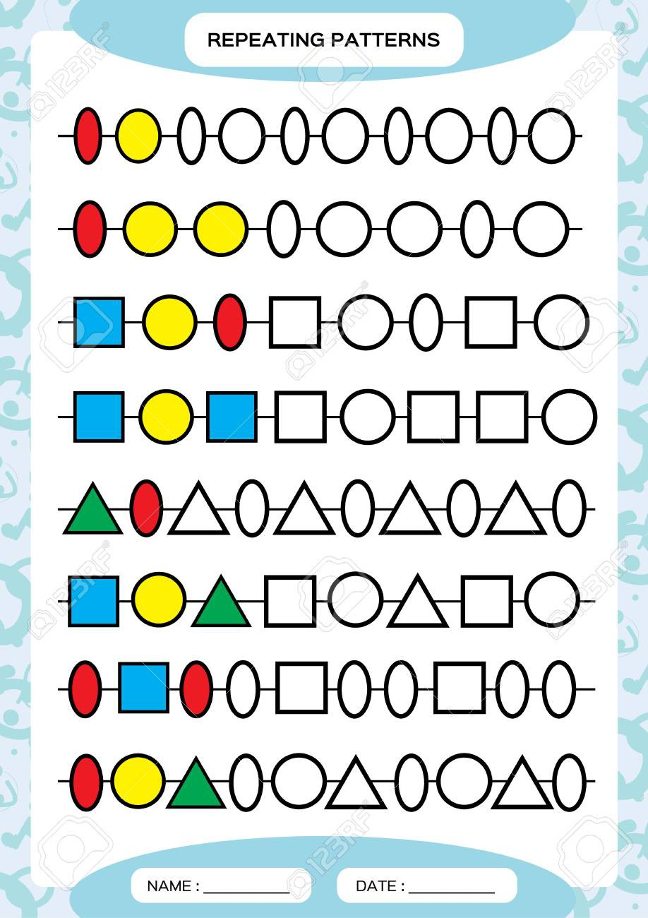 Complete Repeating Patterns Worksheet For Preschool Kids