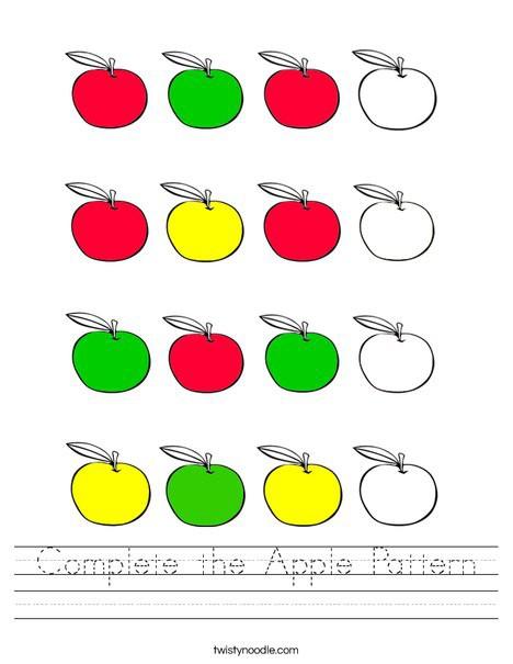 Complete The Apple Pattern Worksheet