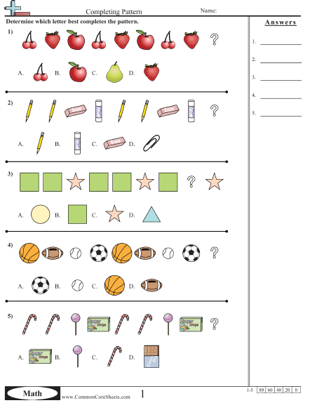Continuing Patterns Visual Worksheet