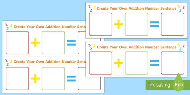 Create Your Own Addition Number Sentence Worksheet  Worksheet
