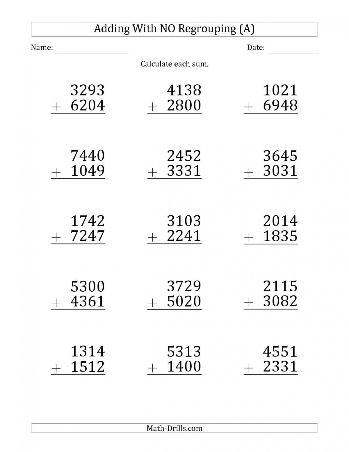 Digit Addition Without Regrouping Worksheets