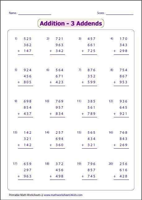 Digit Addition Worksheets