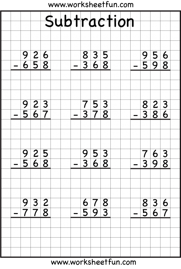 Digit Borrow Subtraction  Regrouping   Worksheets  Free