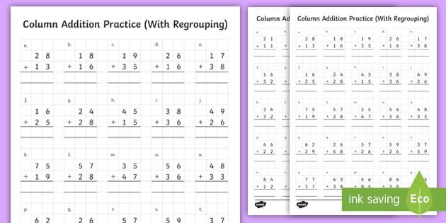 Digit Column Addition Worksheet Teacher Made