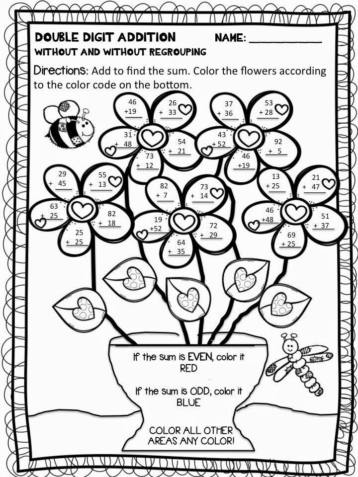 Double Digit Addition And Subtraction Coloring Worksheets