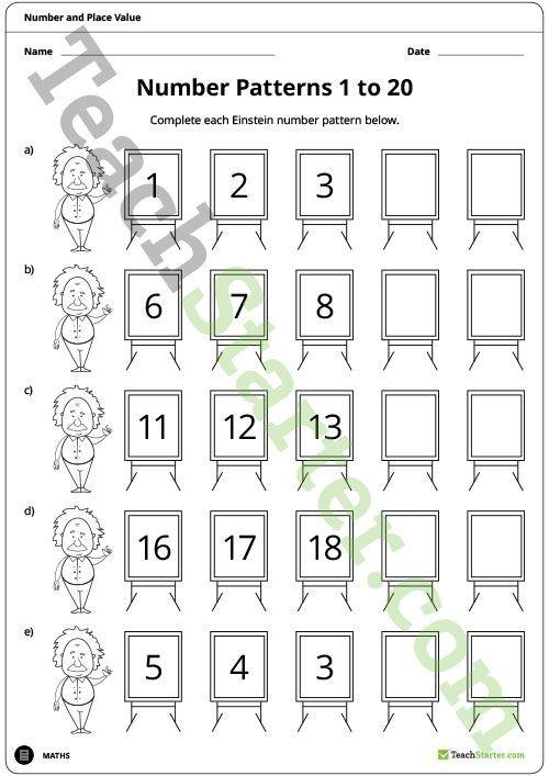 Einstein Number Pattern Worksheets