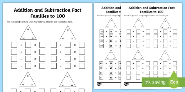 Fact Families To  Addition And Subtraction Worksheet
