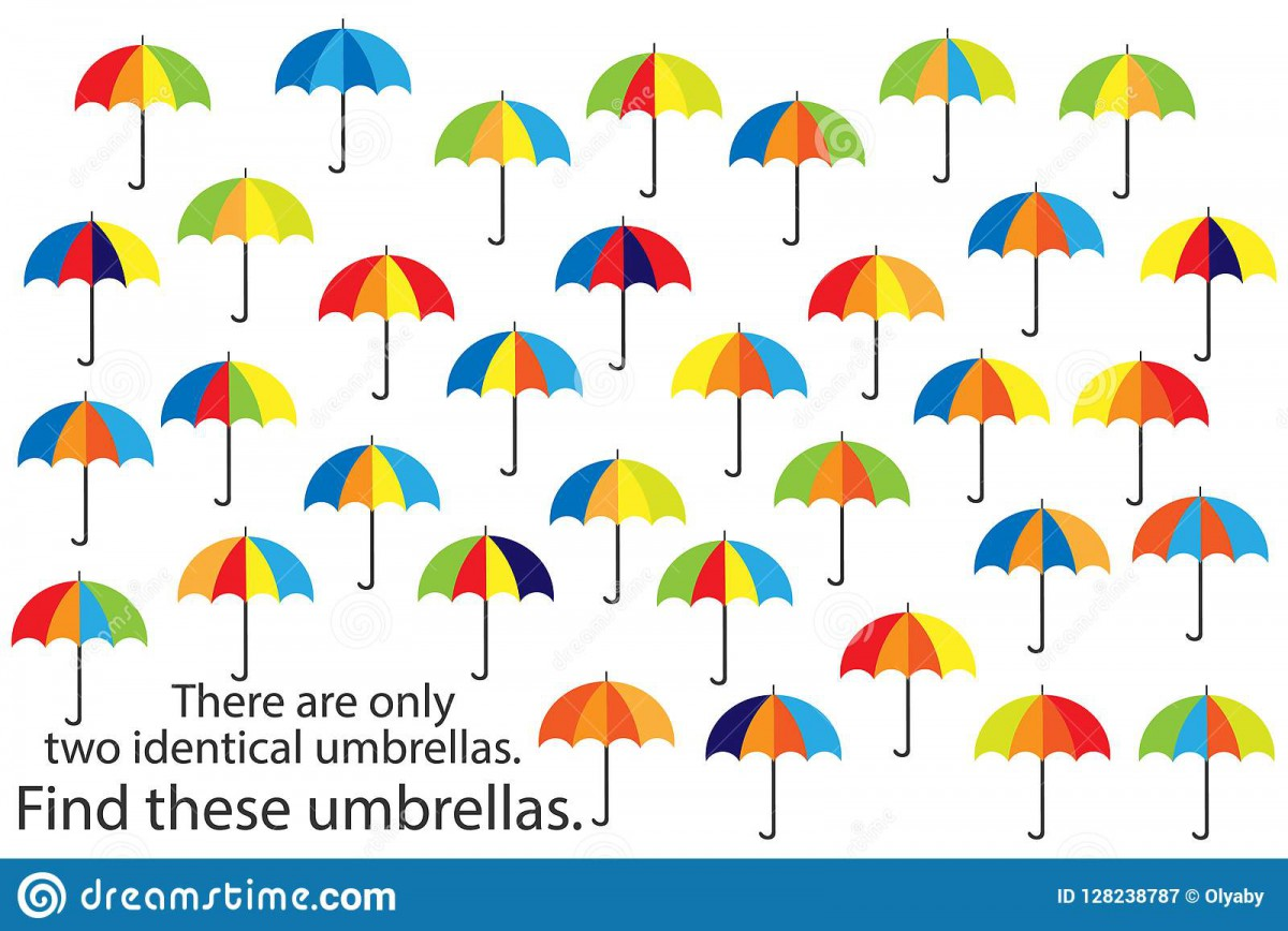 Find Only Two Same Umbrellas  Fun Education Autumn Puzzle Game For