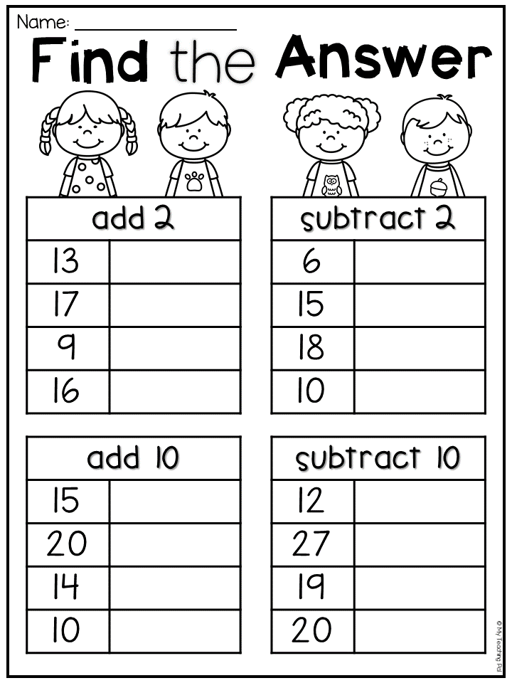 Addition And Subtraction For First Grade Worksheets ...