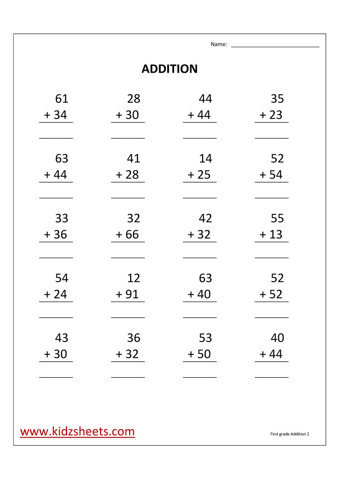 First Grade Math Addition Worksheets