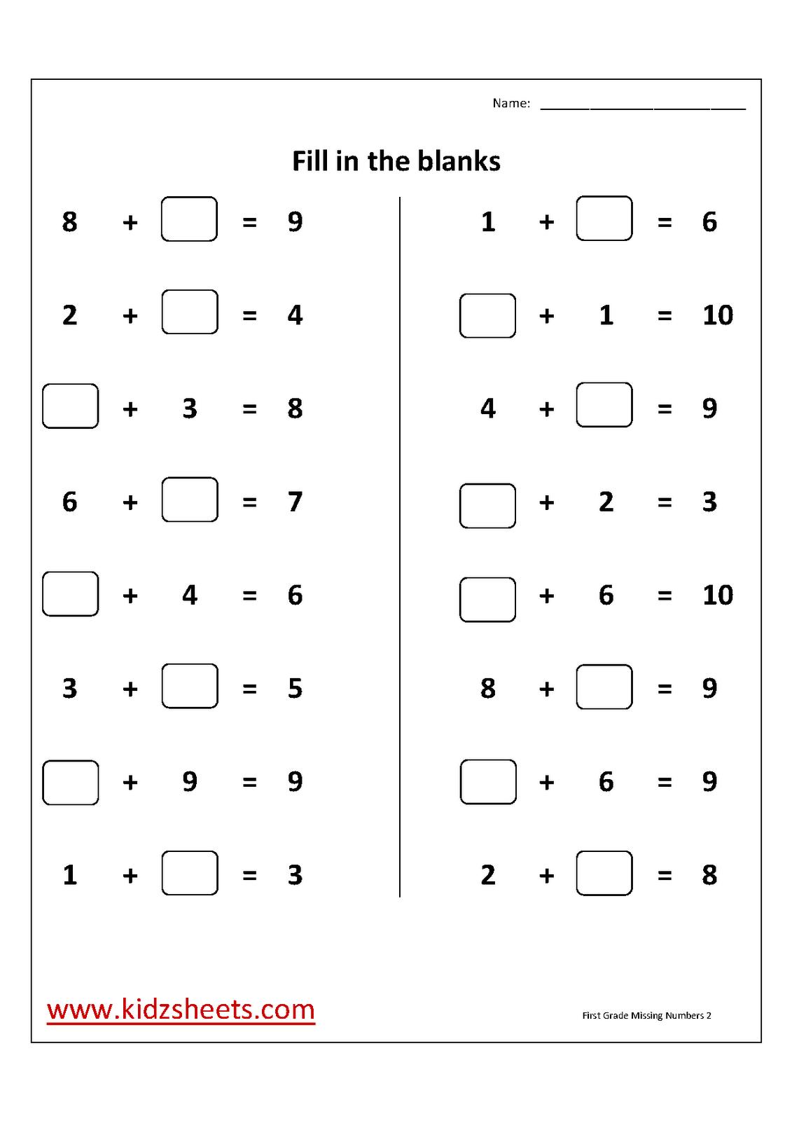 First Grade Missingadd Numbers Worksheet