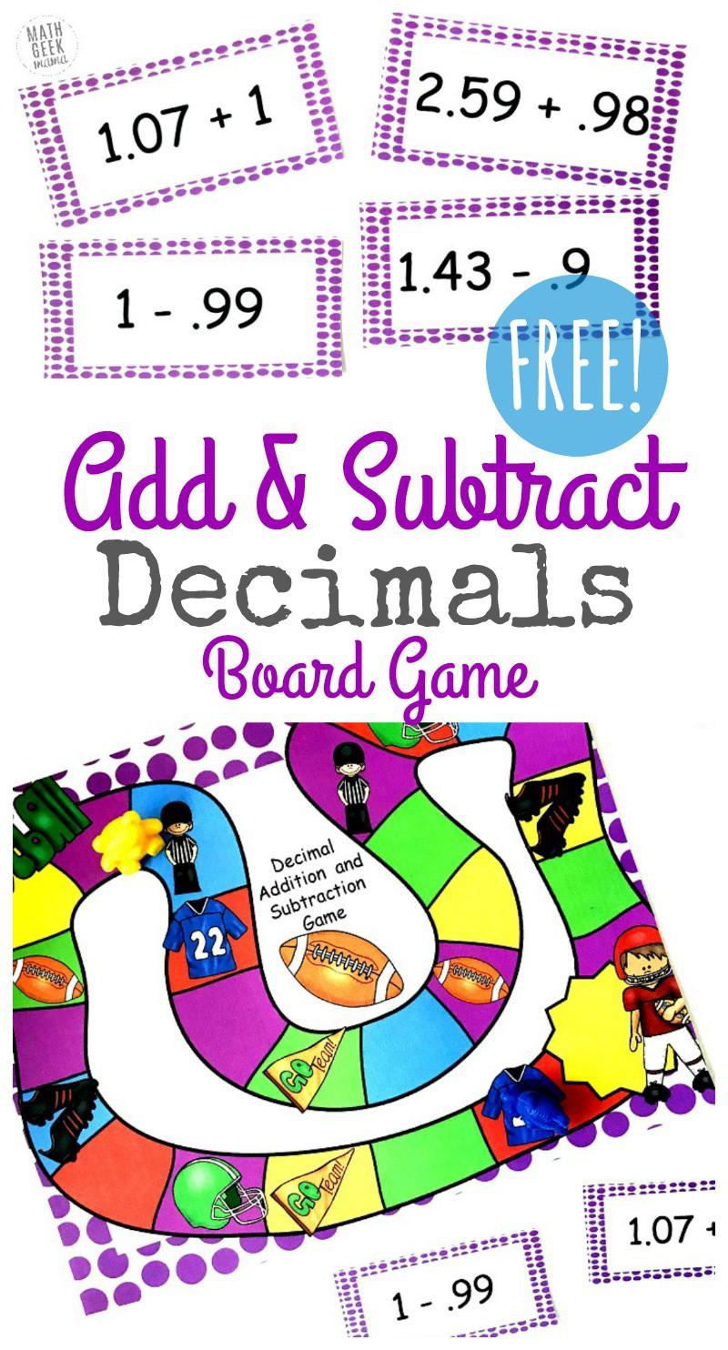 Free Adding   Subtracting Decimals Game For Grades