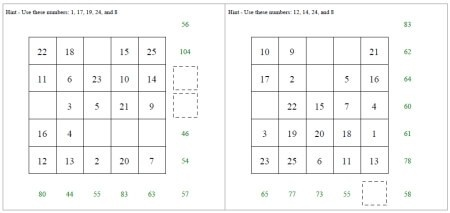 Free Addition Squares Worksheets