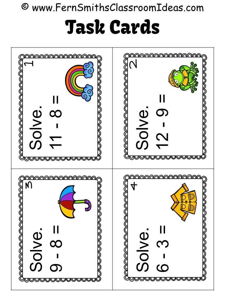 Free Mixed Subtraction Spring Task Cards And Printable