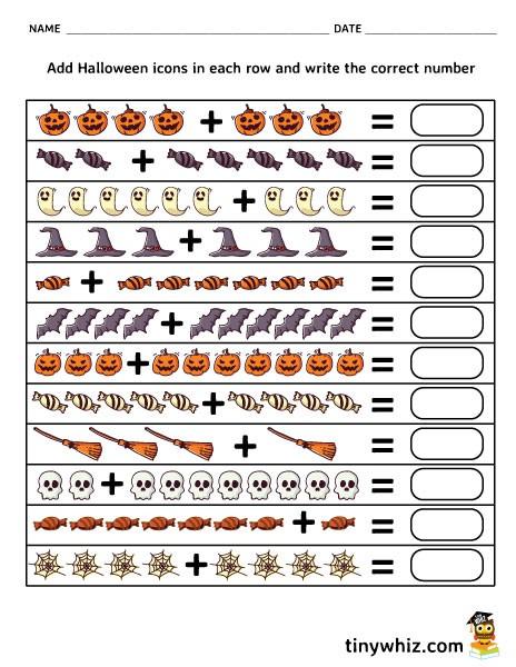 Free Printable Halloween Addition Worksheet Pdf