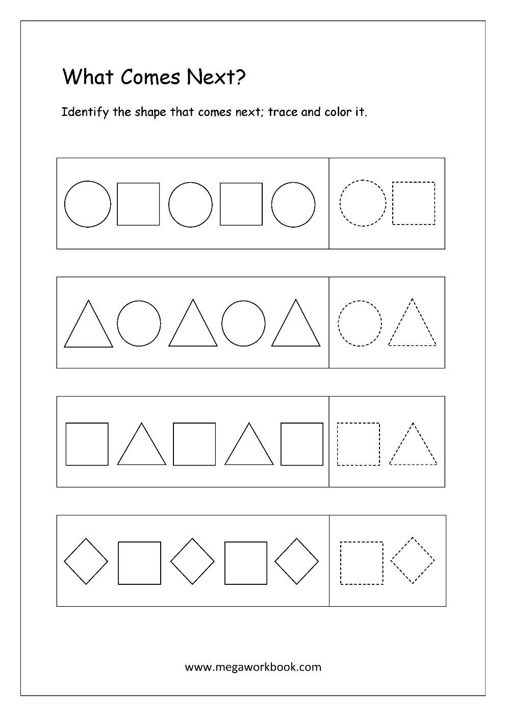 Free Printable Pattern Identification Worksheets