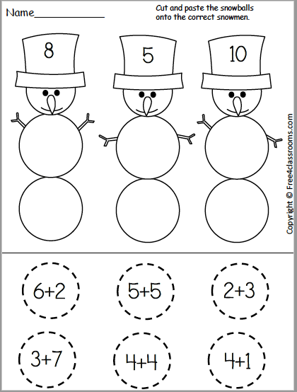 Free Snowman Addition Cut And Paste Worksheet For Kindergarten