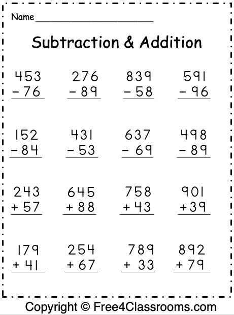Free Subtraction And Addition Worksheets   Digit  With