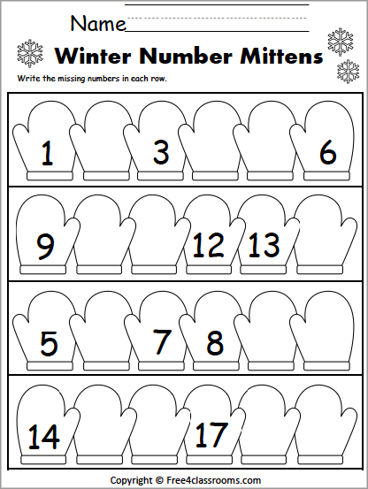 Free Winter Missing Numbers Worksheet  To   Freeclassrooms