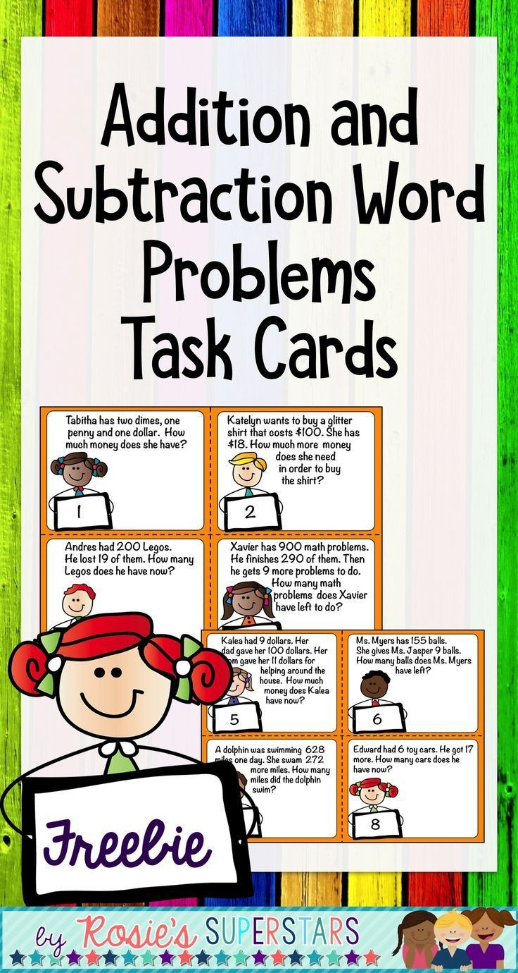 Freebie Word Problems For Addition And Subtraction Task Cards