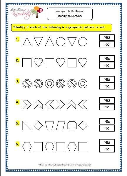 Grade  Maths Worksheets  Geometry Geometric Patterns In