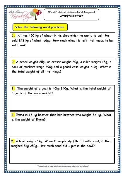 Grade  Maths Worksheets  Word Problems On Grams And