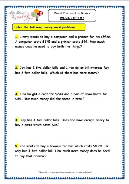 Grade Maths Worksheets Word Problems On Money Lets Share Knowledge