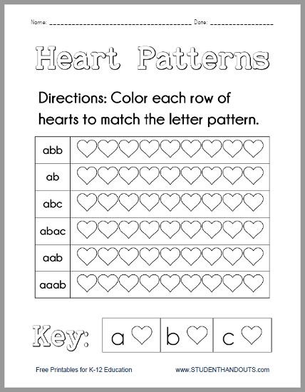 Heart Patterns Worksheet