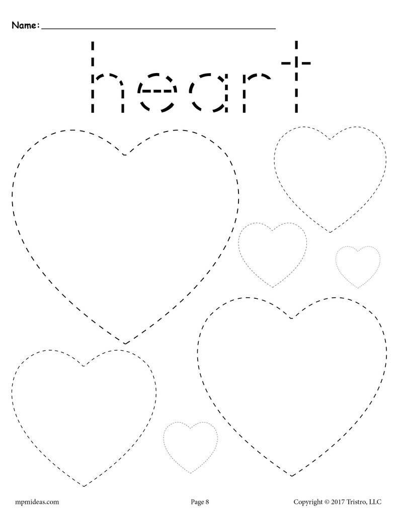 Hearts Tracing Worksheet