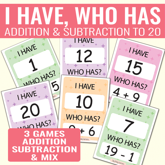 I Have Who Has Addition And Subtraction To