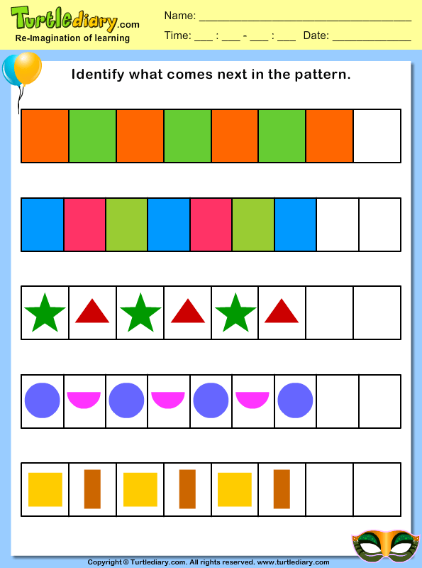 Identify What Comes Next In The Pattern Worksheet