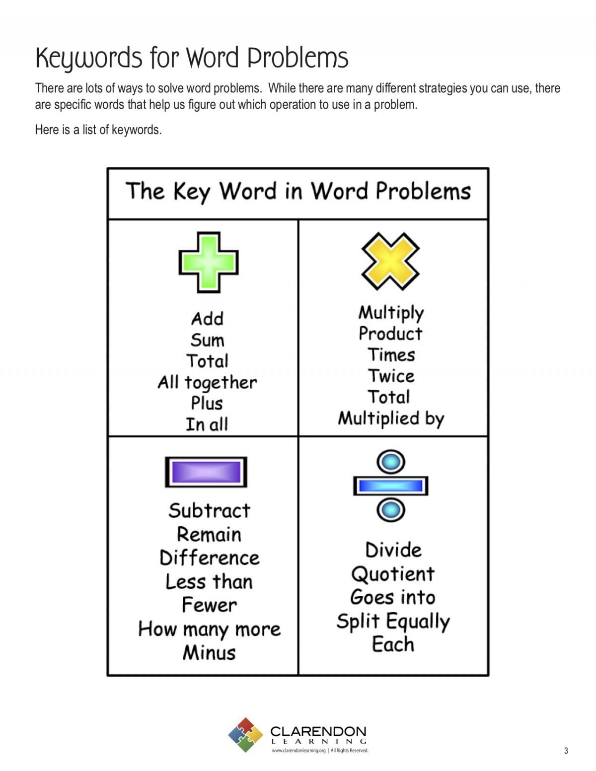 Keywords For Word Problems Lesson Plan