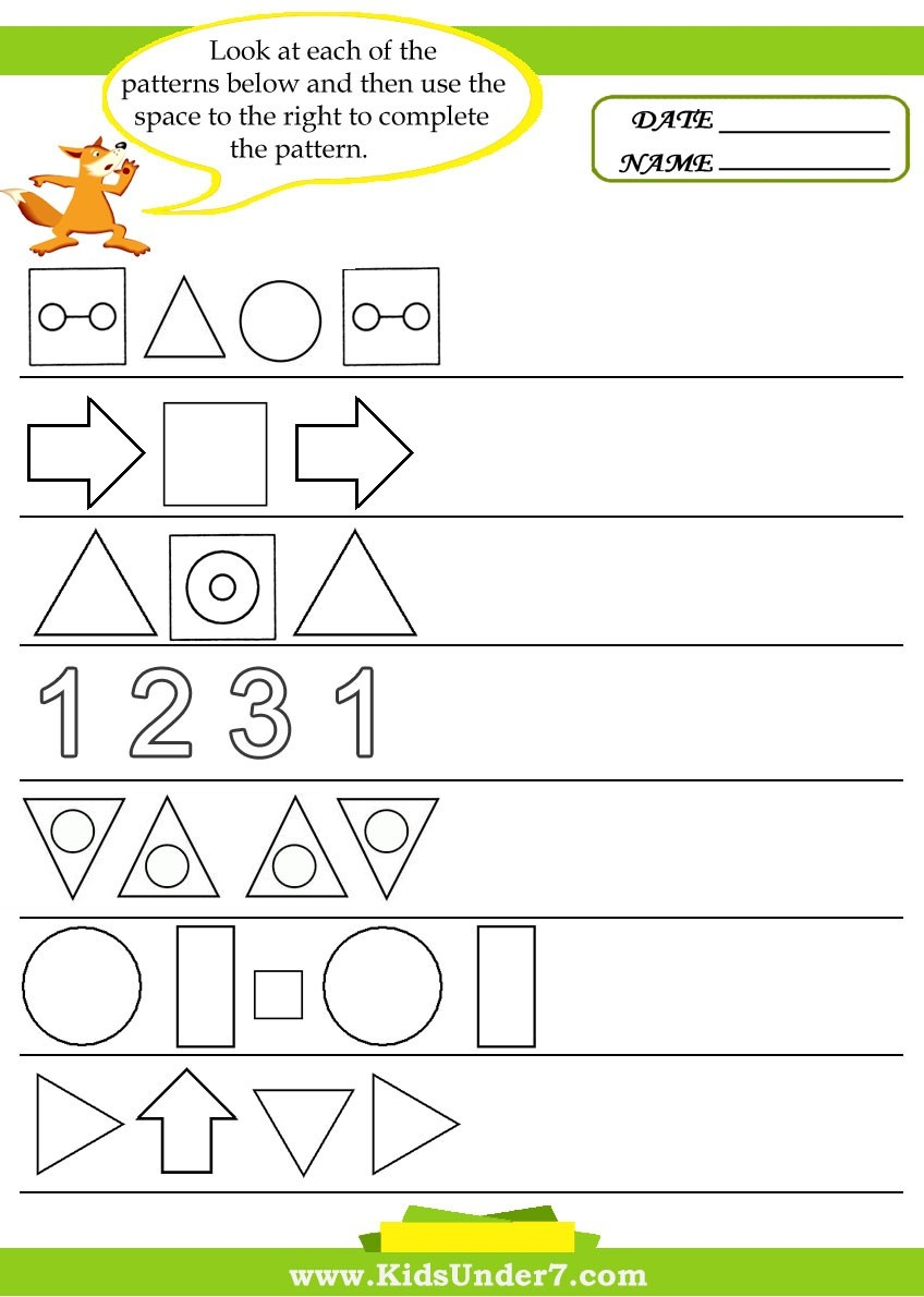 Kids Under  Pattern Recognition Worksheets
