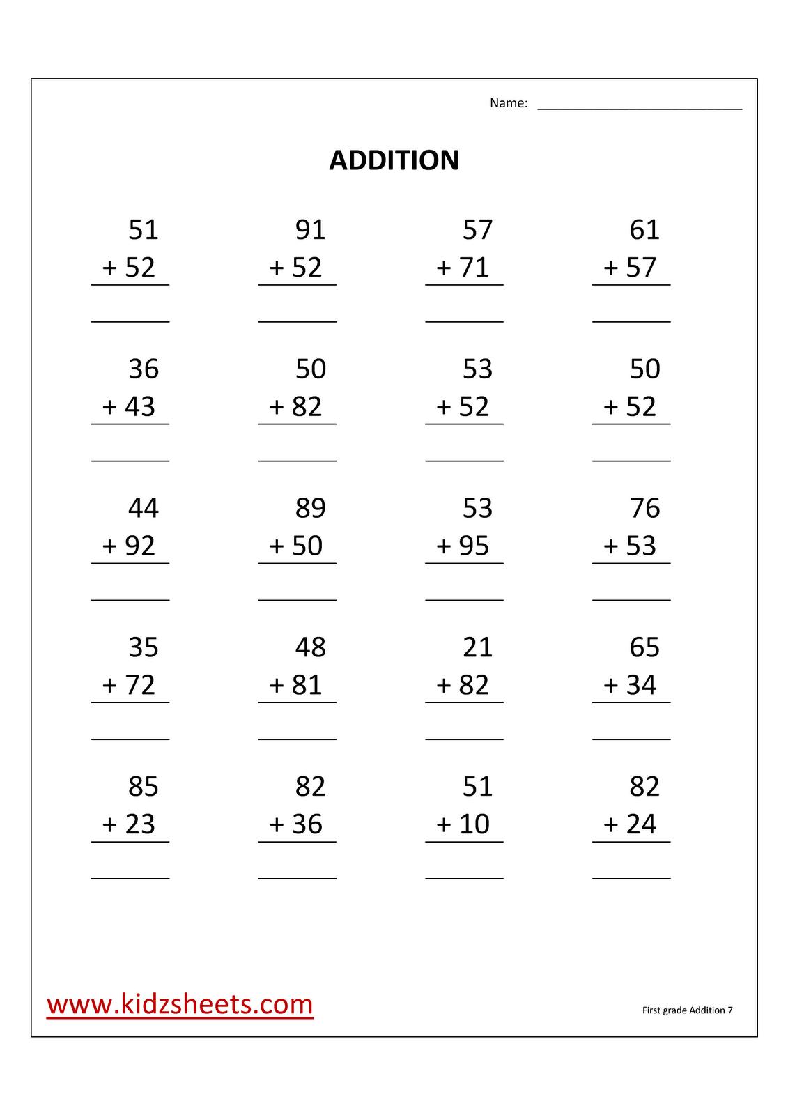 Kidz Worksheets First Grade Addition Worksheet