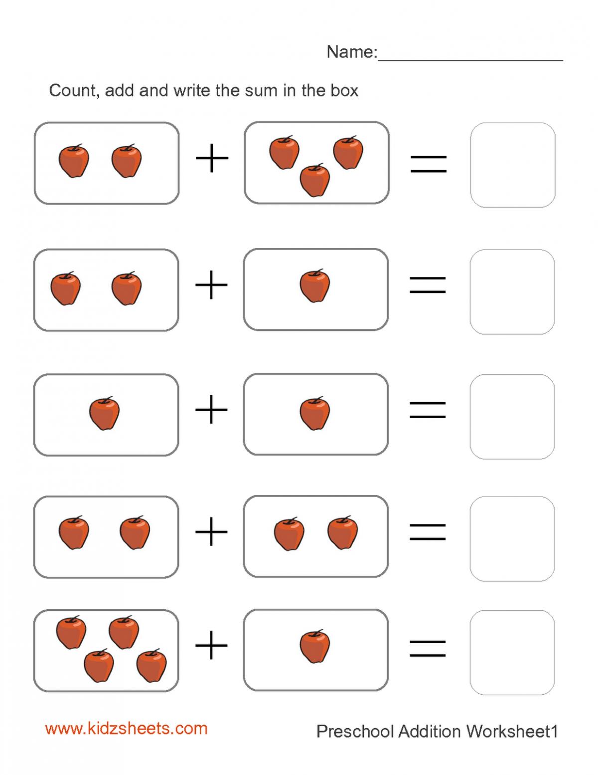 Kidz Worksheets Preschool Addition Worksheet