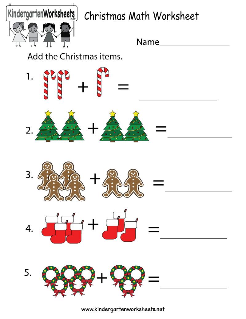 Kindergarten Christmas Math Worksheet Printable