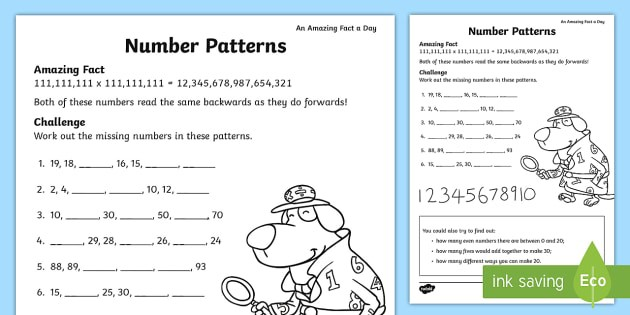 Ks Number Patterns Worksheet