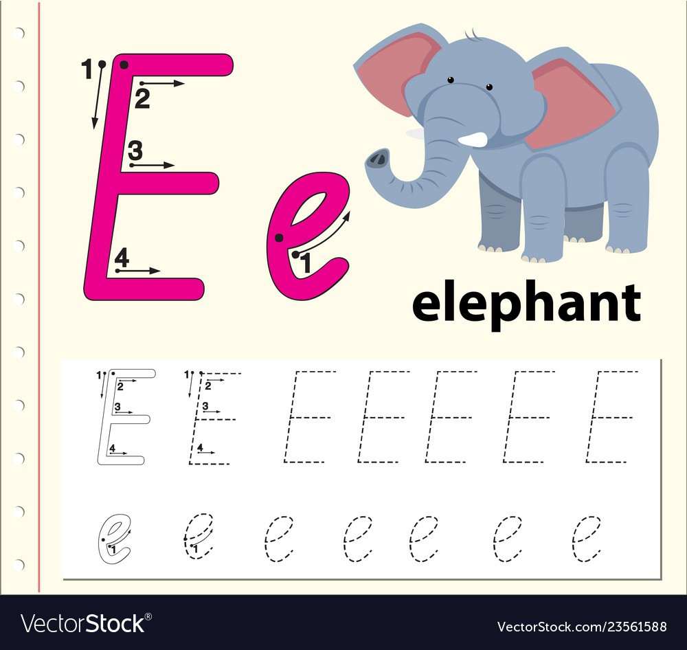 Letter E Tracing Alphabet Worksheets Royalty Free Vector