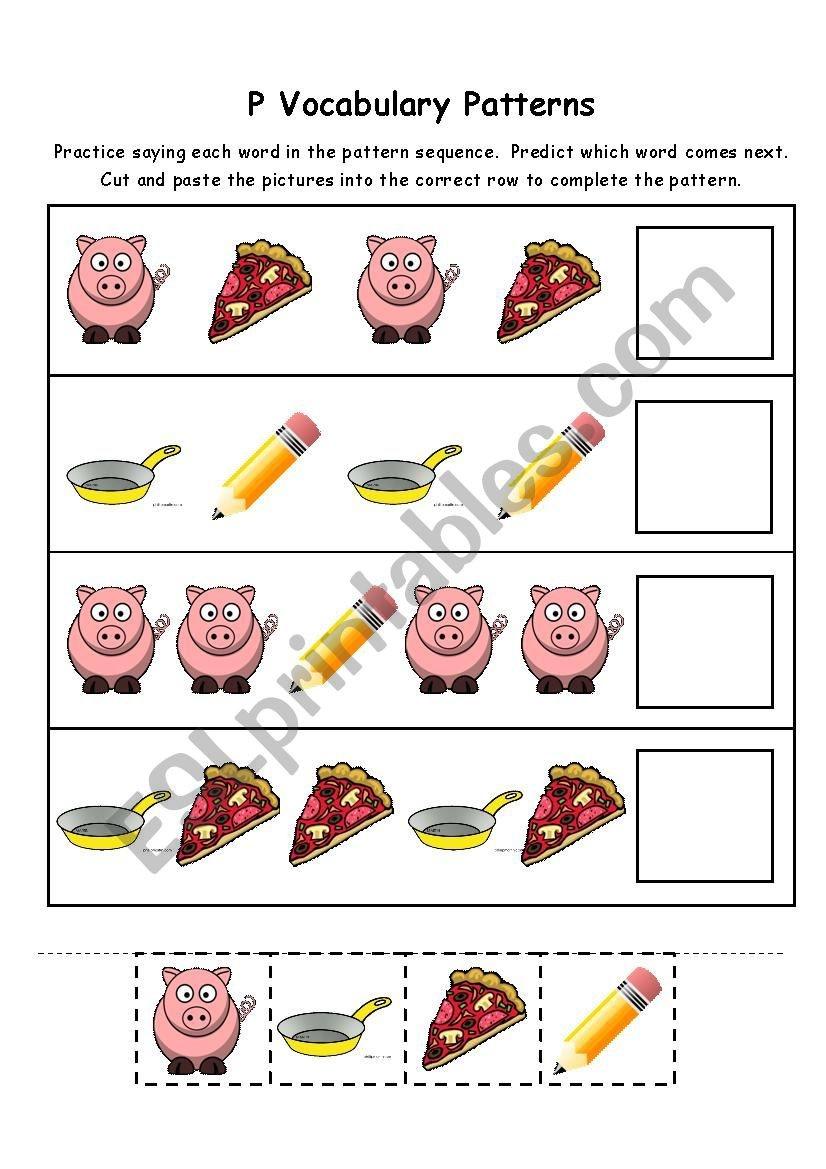 Letter P Vocabulary Patterns