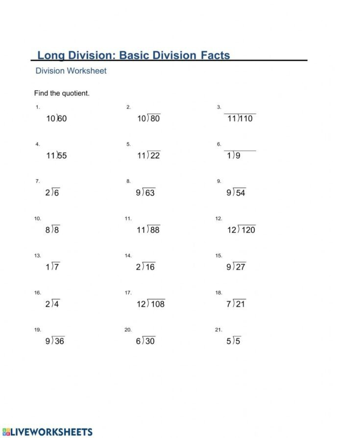 Ma Monday Division Basic Facts Interactive Worksheets Addition