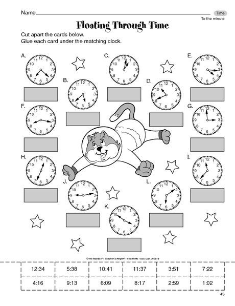 Math Worksheet Time To The Minute