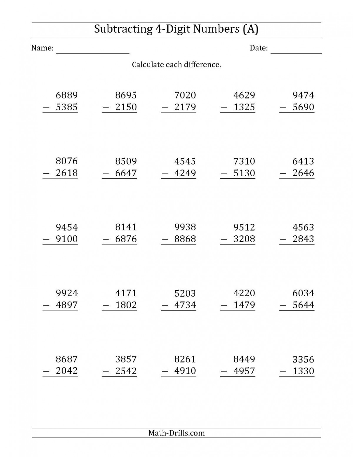 Math Worksheets For Grade  Addition And Subtraction