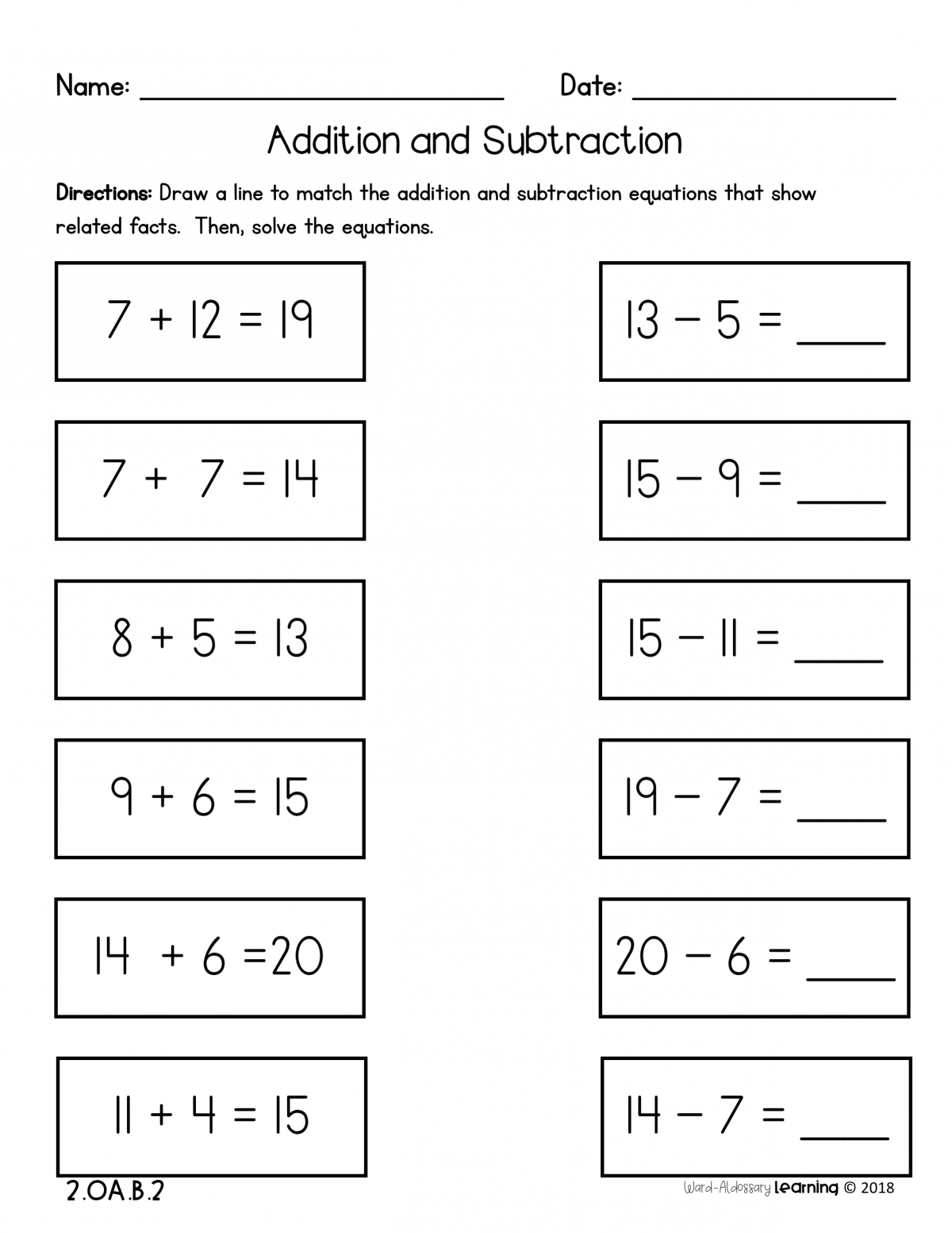 Nd Grade  Addition And Subtraction Fluency