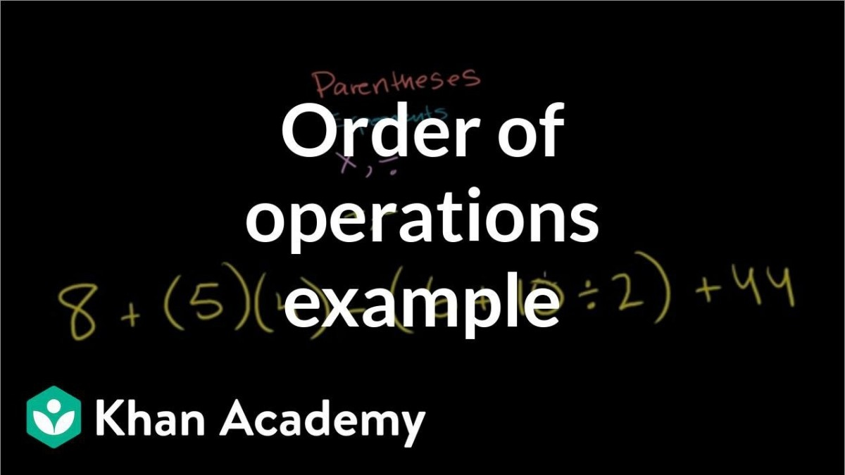 Order Of Operations Example Video