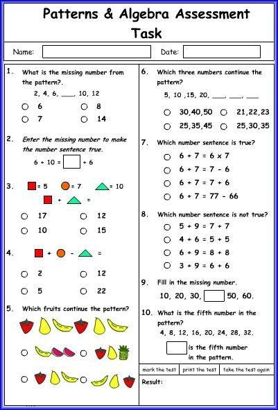 Pattern And Algebra Math Worksheet