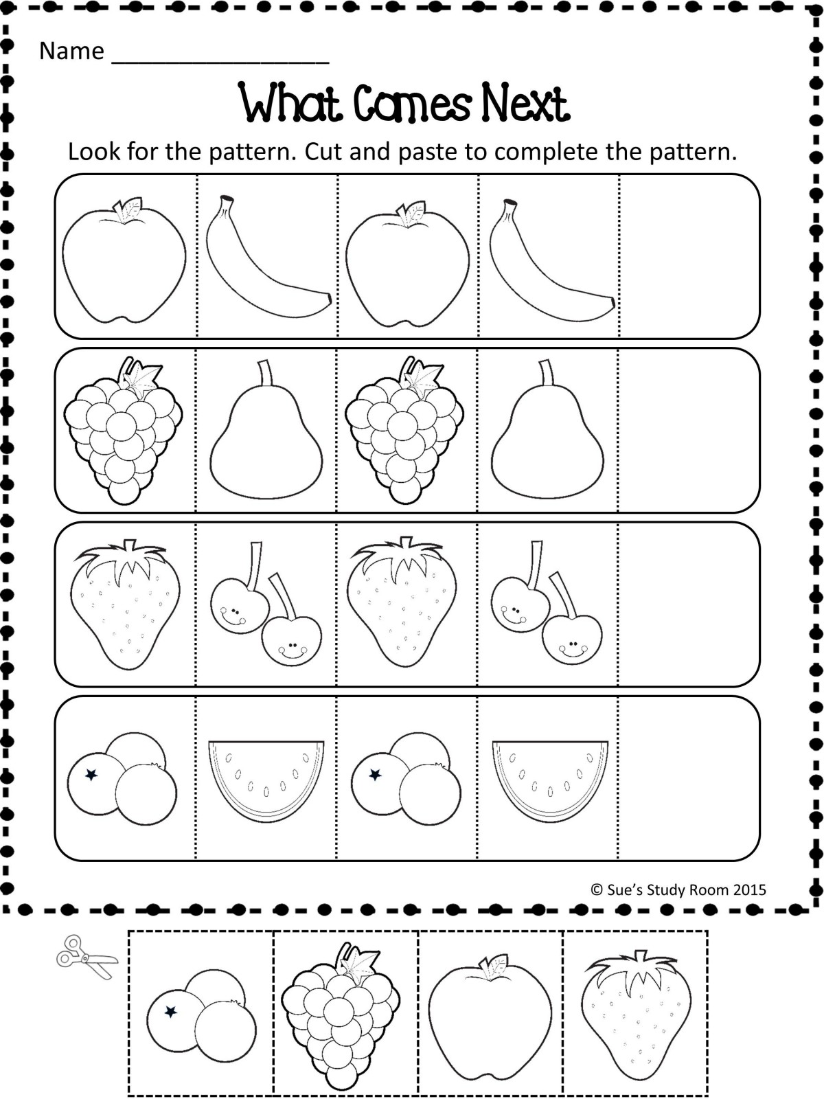 Patterns Fruit Patterns Worksheets