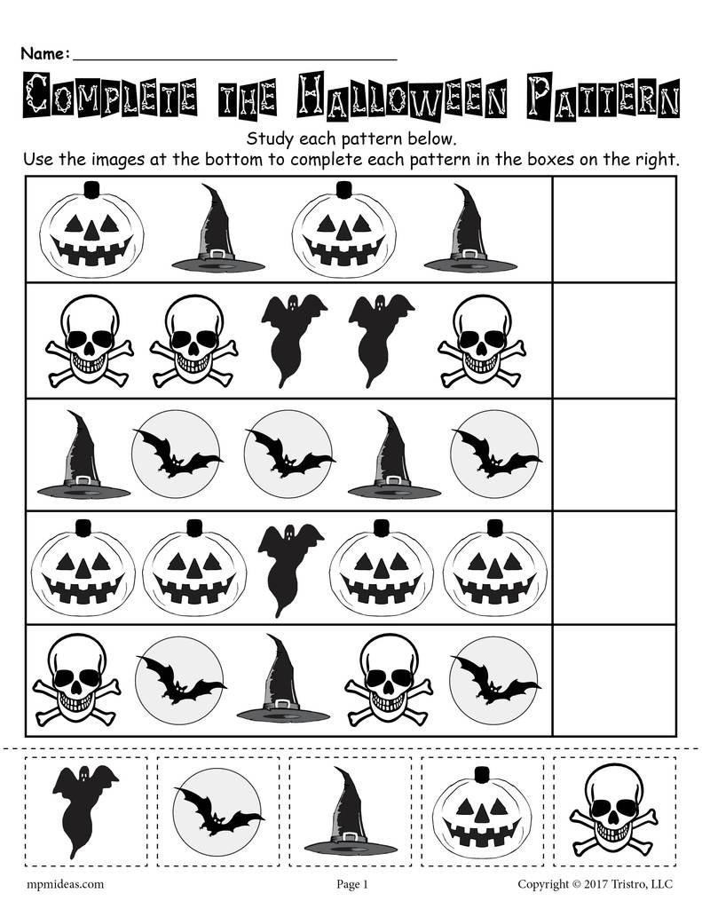 Printable Halloween Pattern Worksheet  Supplyme