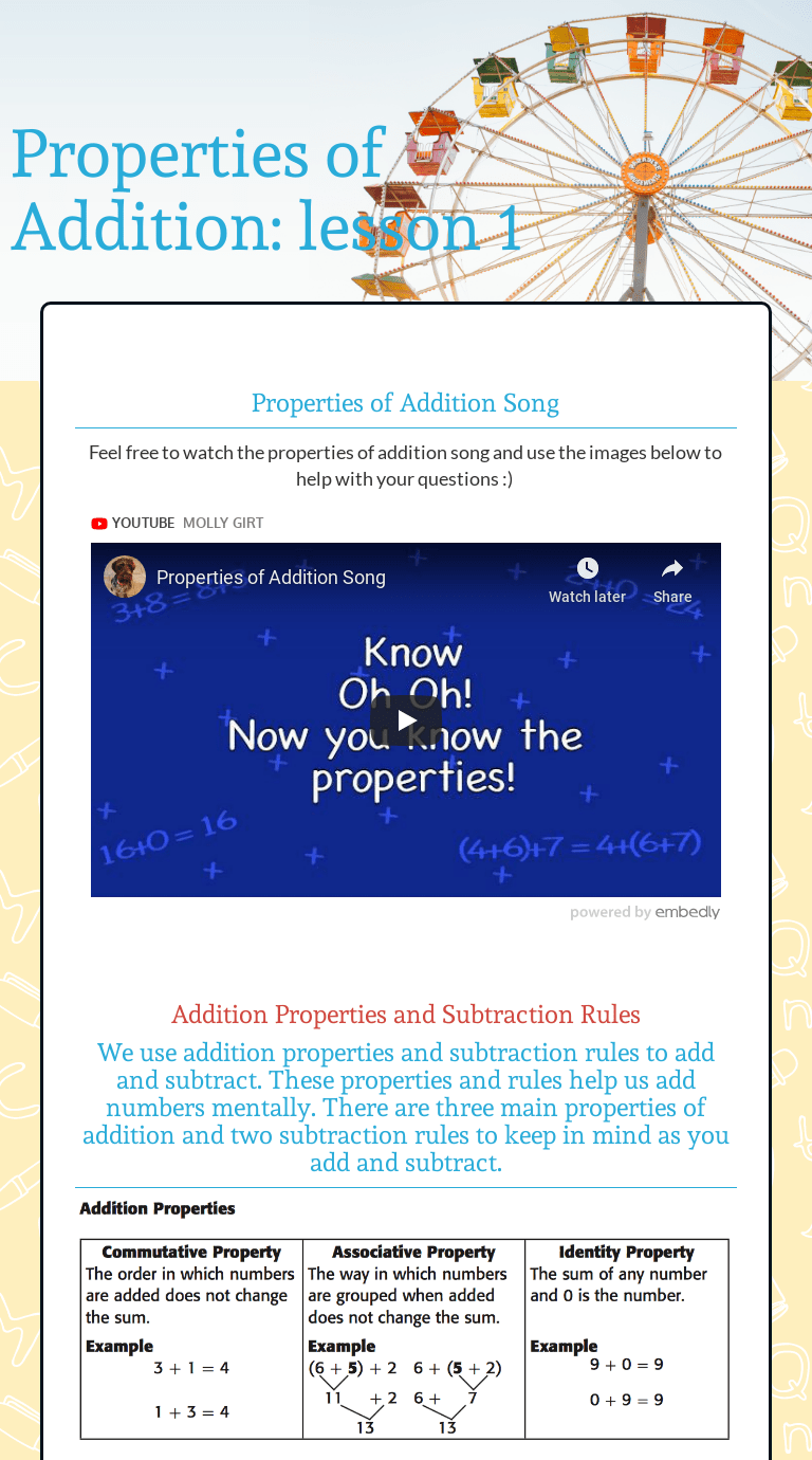 Properties Of Addition Lesson